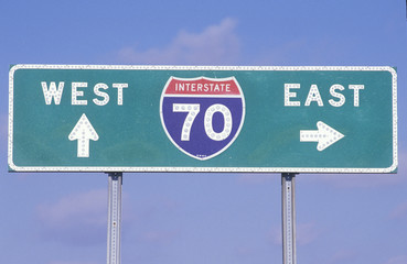 A sign for interstate 70 west and east