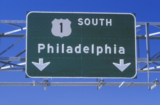 Route 1 South sign in Philadelphia