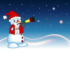 Snowman wearing a Santa Claus costume blowing horns with star, sky and snow hill background for your design Vector Illustration