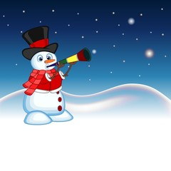 Snowman wearing a hat, red sweater and a red scarf blowing horns with star, sky and snow hill background for your design vector illustration