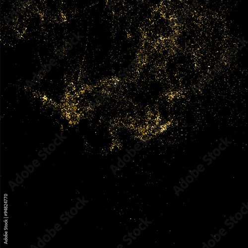 Gold Glitter Texture On A Black Background Golden Explosion Of Confetti Grainy Abstract