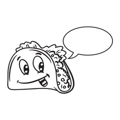 Cartoon taco with bubble speech