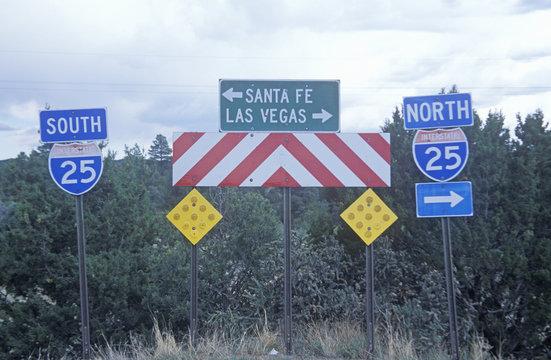 Santa Fe or Las Vegas sign in New Mexico