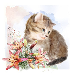 Fluffy kitten with lilies.  Vintage postcard.  Imitation of wate