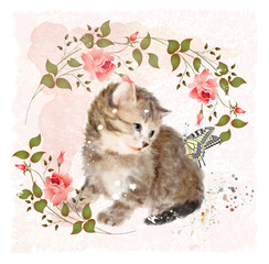 Fluffy kitten with roses and butterfly.  Vintage postcard.  Imit