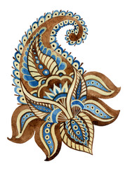 Watercolor indian ornament