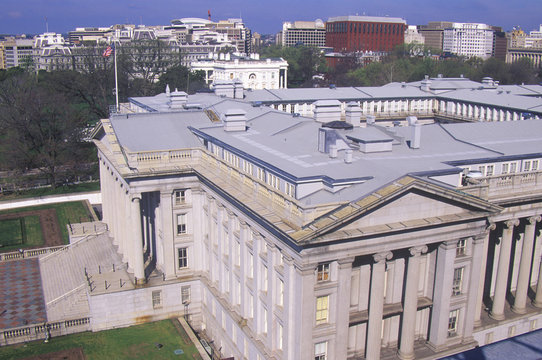 United States Department of Treasury Building with the White House in the background, Washington, D.C.