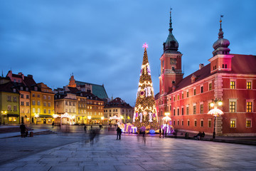 Christmas in Old Town of Warsaw in Poland