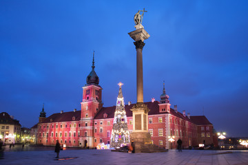 Royal Castle and Sigismund Column by Night in Warsaw