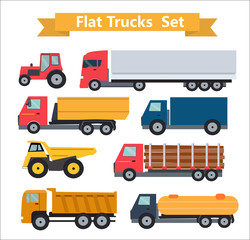 Flat Trucks Set Vector Illustration