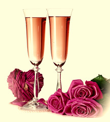 Composition with pink sparkle wine in glasses, and pink roses on beige background