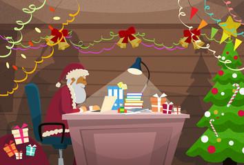 Santa Claus Using Laptop Sitting Desk Indoor Home