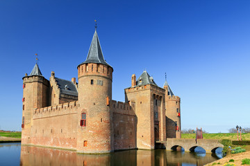The Muiderslot with moat in Muiden, The Netherlands