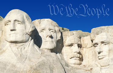 Digital composite: Preamble to the U.S. Constitution and Mount Rushmore
