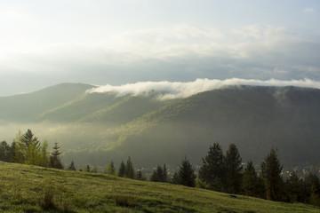 Autumn mist. Mountain village. Carpathians, Ukraine, Europe