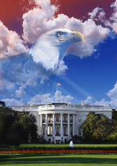 Digital composite: The White House with American eagle