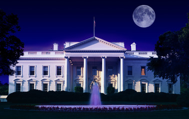 Digital composite: The White House, Washington D.C. and full moon
