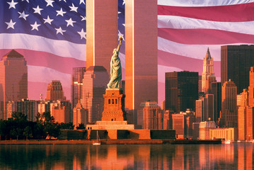 Digital composite: New York skyline, American flag, World Trade Center, Statue of Liberty