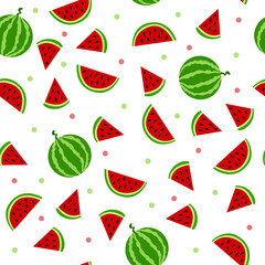 Watermelon seamless pattern red green illustration vector