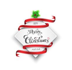 Merry Christmas banner, custom hand-lettering, Vector illustration, EPS 10