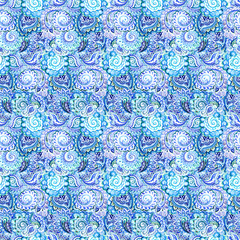 Seamless ornamental pattern in blue winter traditional style
