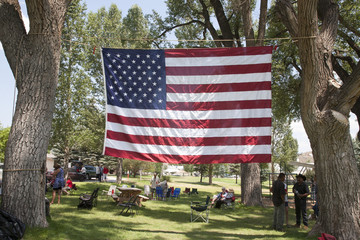 US Flag stretched between trees in Town Park of Ridgway Colorado.