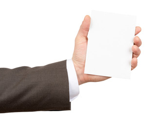 Businessman holding small empty paper