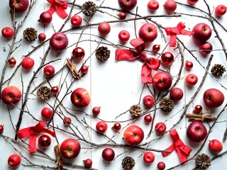 Red apples with Christmas ornaments