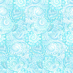 Gentle seamless light blue background in ornate ornamental style