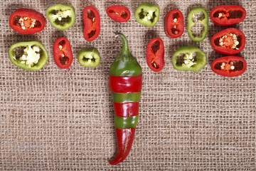 Abstract red green pepper , bright background