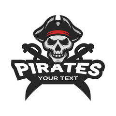Skull pirates and swords. Mascot logo.