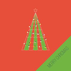 Green stylized Christmas tree. Christmas greeting card.