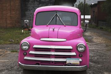Antique purple truck in rain, Silverton, Colorado, USA, 07.08.2014