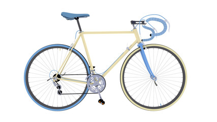 Велосипед сбоку на белом фоне
