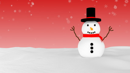 Snowman in winter - red variant