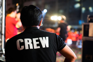 Behide Of the concert crew on stage