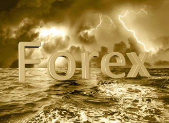 Forex 3d text floating in a stormy ocean