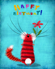 Birthday Card Striped Cat with Flower