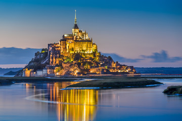 Mont Saint-Michel in twilight at dusk, Normandy, France Wall mural
