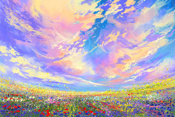 landscape painting,colorful flowers in field under beautiful clouds