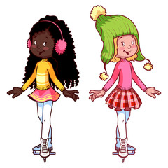 Two cute girls on skates