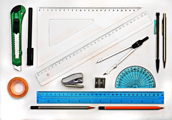 Set of geometry drawing tools isolated on white