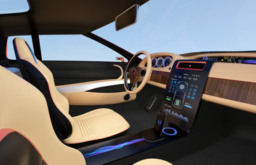 Electric car console. User using touch screen to control the system. Original design.