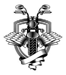 motorcycle ribbon emblem