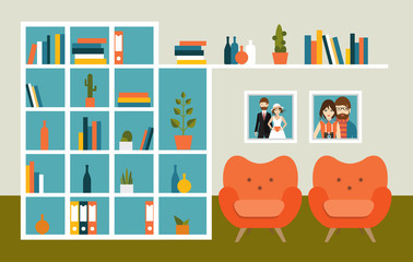 Living room wall with orange armchairs and book shelves. Flat design vector illustration.