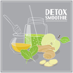 Green detox smoothie recipe. Vector illustration.