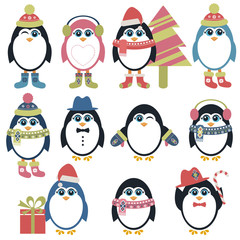 Set of penguins in winter