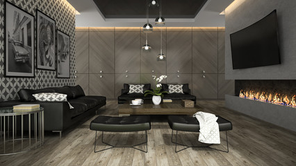 Interior of living room with stylish wallpaper 3D rendering 4