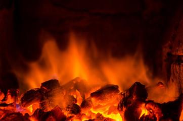 Foto op Canvas Vuur Hot coals in the fire