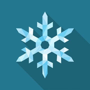 polygonal one large snowflake blue ice on a blue background